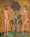 Icon of the Fall with Adam, Eve, and the Serpent