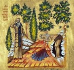 St. Zosima giving St. Mary his cloak
